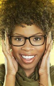 african american woman glasses yellow